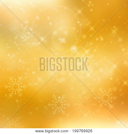 Abstract golden glittering christmas background with stars and bokeh