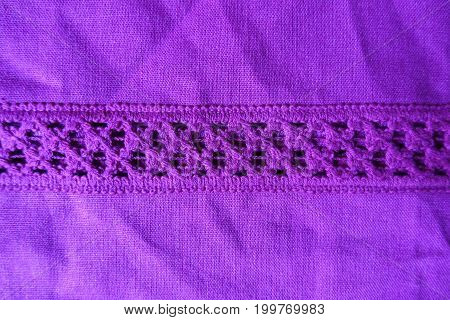 Bright Violet Linen Fabric With Stripe Of Crochet Lace From Above