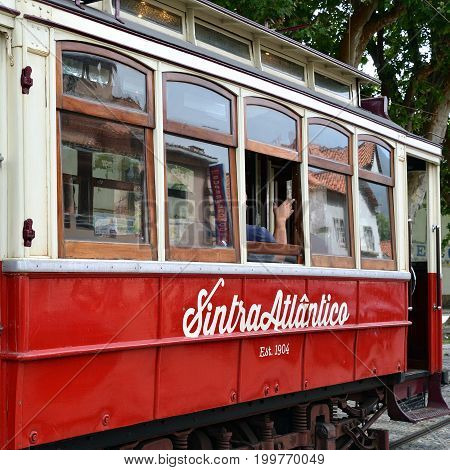 Vintage Red Tram In Sintra, Portugal
