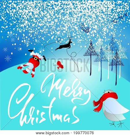 Santa Claus fall from sleigh with harness on the reindeer. Vector illustration. Christmas lettering. Greeting card. Winter forest. Holiday inscription