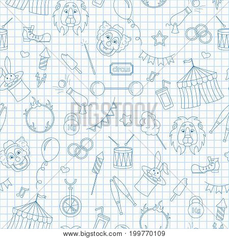 Seamless pattern on the theme of circus simple contour icons blue contour icons on the clean writing-book sheet in a cage