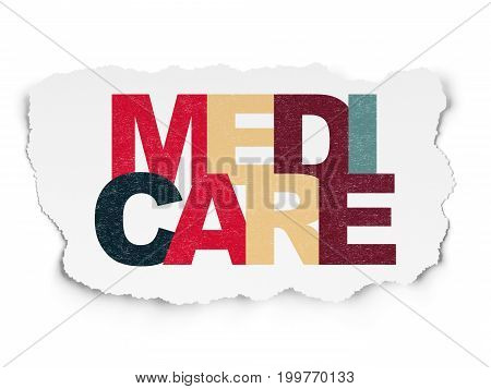 Health concept: Painted multicolor text Medicare on Torn Paper background