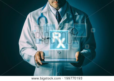 Doctor with stethoscope and tablet computer on black background still life style Technology pharmacy to treat patients concept.