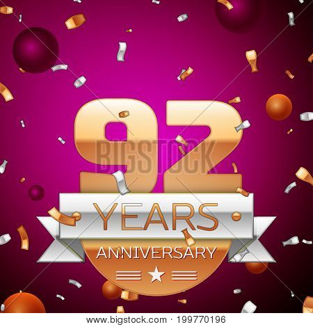 Realistic Ninety two Years Anniversary Celebration Design. Golden numbers and silver ribbon, confetti on purple background. Colorful Vector template elements for your birthday party