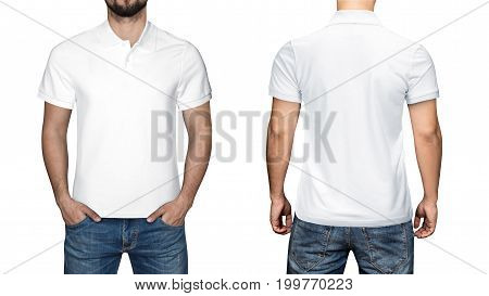 men in blank white polo shirt, front and back view, isolated white background. Design polo shirt, template and mockup for print.