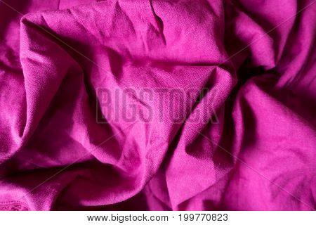 Draped Bright Magenta Colored Plain Linen Fabric