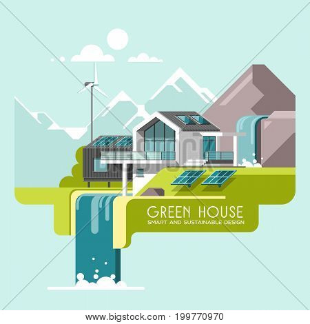 Eco friendly modern house. Green architecture. Solar panel, wind turbine, green roof. Vector illustration, info graphic, line style.