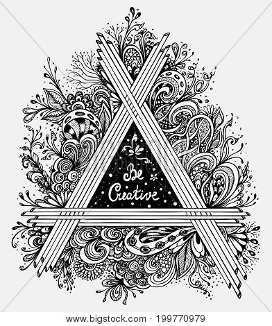 Abstract Floral triangle handmade graphic in Zen-tangle Zen-doodle style  made by trace with  inscription for coloring page or poster on T-shirt or for album's cover or sketchbook