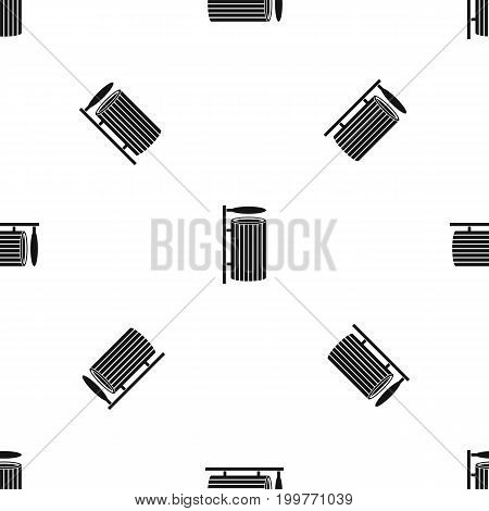 Public trash can pattern repeat seamless in black color for any design. Vector geometric illustration