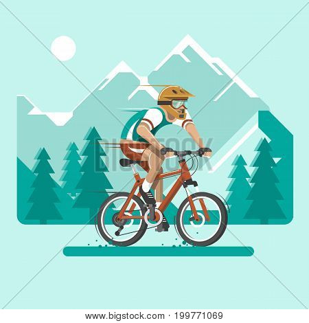 Cyclist in the mountains. Man dressed in sports clothes and helmet on the bicycle. Flat vector illustration in 3d style.