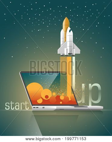 Flat design vector illustration concept of new business project. Start Up. Launch a new product on a market.