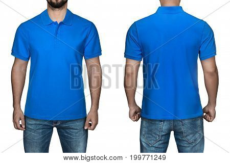 men in blank blue polo shirt, front and back view, isolated white background. Design polo shirt, template and mockup for print.