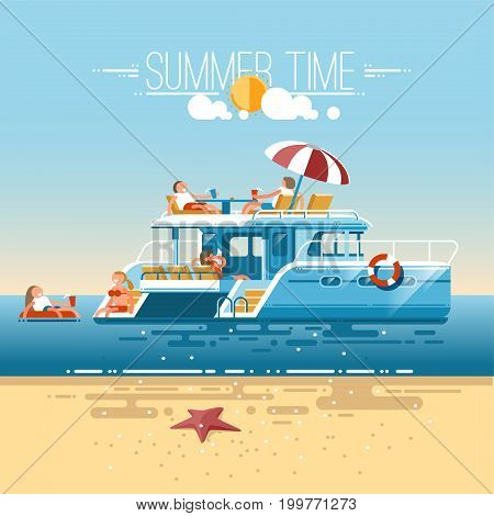 Catamaran sailing boat with tourists. Swimming, relaxation, vacation at sea. Illustration in flat style.