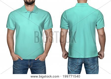 men in blank turquoise polo shirt, front and back view, isolated white background. Design polo shirt, template and mockup for print.