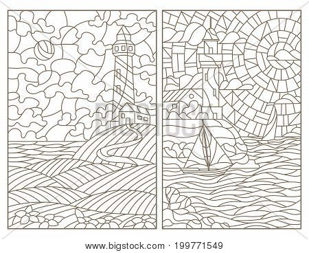 Set contour illustrations of stained glass seascapes lighthouses and ships