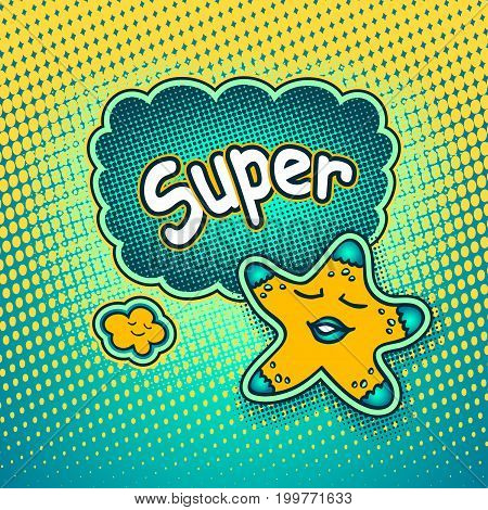 Doodle star in pop art cartoon comic retro style pointing on Speech bubble with halftone and inscription Super for Rating or recommendation for watching a movie or quality product