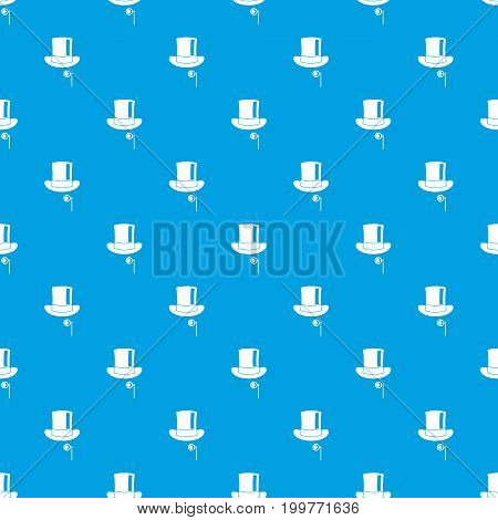 Hat with monocle pattern repeat seamless in blue color for any design. Vector geometric illustration