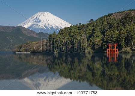 Beautiful Lake ashi and mt. Fuji in autumn season