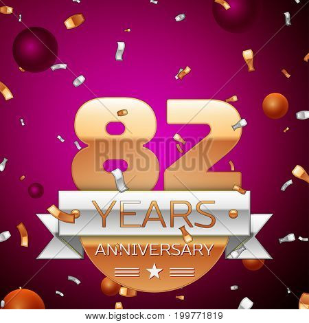 Realistic Eighty two Years Anniversary Celebration Design. Golden numbers and silver ribbon, confetti on purple background. Colorful Vector template elements for your birthday party