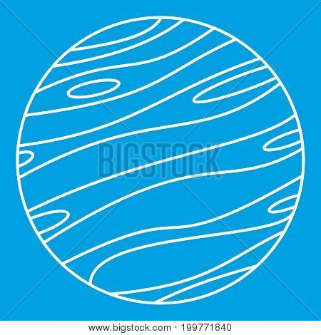 Big planet icon blue outline style isolated vector illustration. Thin line sign