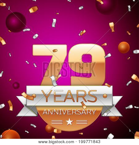 Realistic Seventy nine Years Anniversary Celebration Design. Golden numbers and silver ribbon, confetti on purple background. Colorful Vector template elements for your birthday party