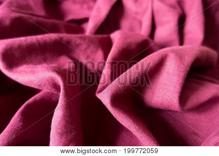 Pale Maroon Linen Fabric With Folds And Shadows