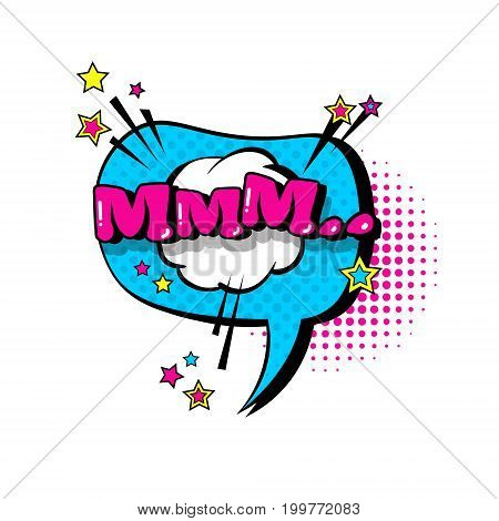 Comic Speech Chat Bubble Pop Art Style Mmm Expression Text Icon Vector Illustration