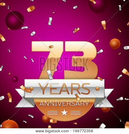 Realistic Seventy three Years Anniversary Celebration Design. Golden numbers and silver ribbon, confetti on purple background. Colorful Vector template elements for your birthday party