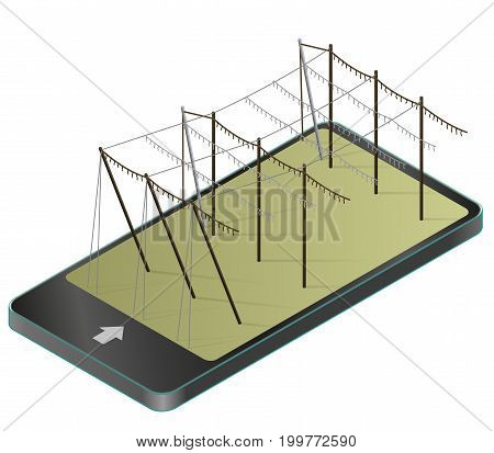 Hopgarden landscape in spring, isometric in mobile phone. Agriculture landscape with husbandry industry in communication technologies. Construction of beams, wires for growing hops on green farm field