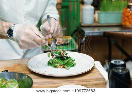 Professional chef is serving vegetable starter, toned image