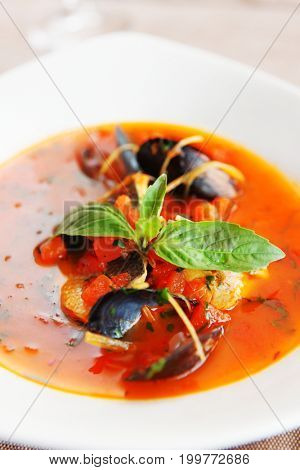 Fish and seafood soup, toned image