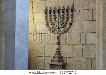 The menorah candlestick in the Synagogue in Voronezh