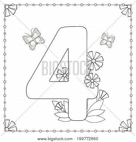 Numeral four with flowers leaves and butterflies. Coloring page. Vector illustration.