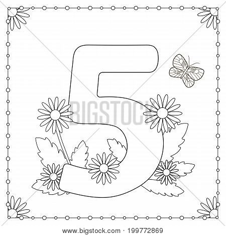Numeral five with flowers leaves and butterfly. Coloring page. Vector illustration.