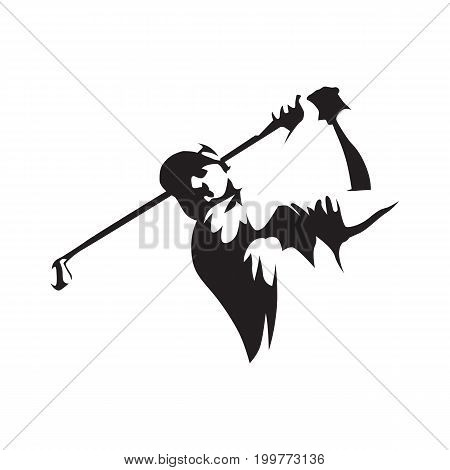 Golfer abstract silhouette front view. Golf logo