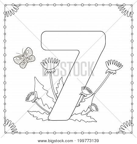 Numeral seven with flowers leaves and butterfly. Coloring page. Vector illustration.
