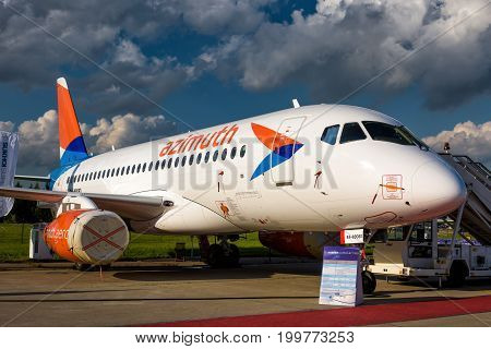 Moscow Region - July 21, 2017: Russian passenger plane Sukhoi Superjet-100 at the International Aviation and Space Salon (MAKS) in Zhukovsky.