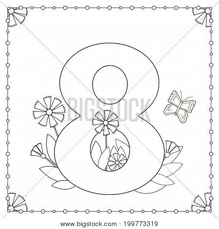 Numeral eight with flowers leaves and butterfly. Coloring page. Vector illustration.