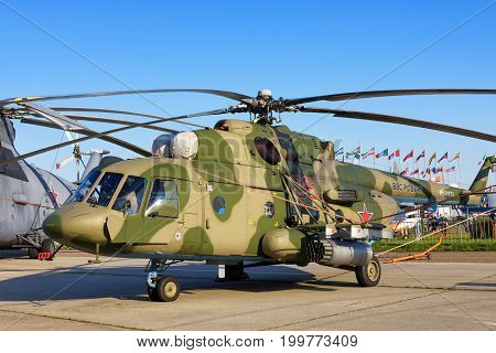 Moscow Region - July 21, 2017: Russian military helicopter Mil Mi-171Sh at the International Aviation and Space Salon (MAKS) in Zhukovsky.