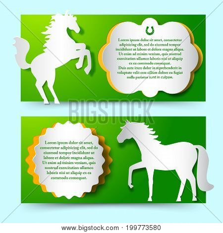 Two green horizontal banners set with jumping white paper horse as new year symbol flat vector illustration