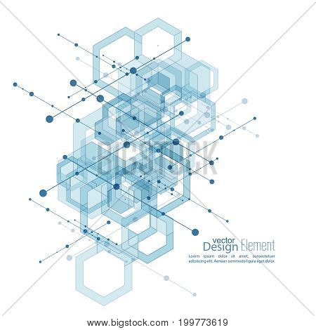 Abstract neat  Background with transparent cubes, hexagons carcass. Techno design of future, minimalism. technology, science and research. cyberspace cells. Digital Data Visualization. blue, vector