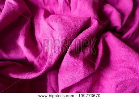 Rumpled Bright Fuchsia Colored Plain Linen Fabric