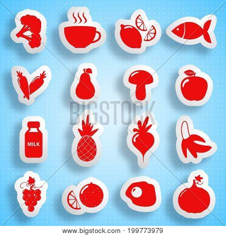 Healthy food paper icons set with products valuable for human body on light background isolated vector illustration