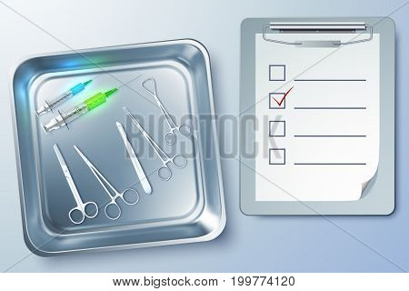 Medical instruments background with syringes forceps scalpel scissors notepad in sterilizer isolated vector illustration