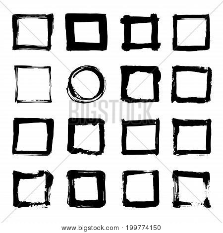 Uniqiue Handdrawn Shapes Of Squares For Logo Design. Isolated Vector Illustration.