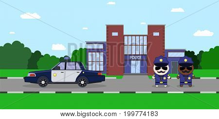 American police officers with police car and the department of police on the background. Flat style Vector illustration