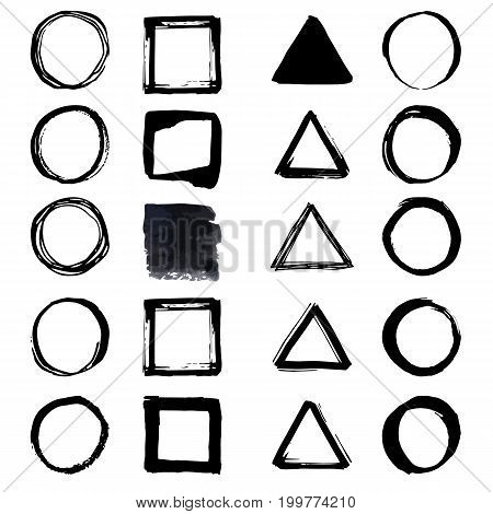 Uniqiue Handdrawn Shapes Of Squares, Triangles, Circles For Logo Design. Isolated Vector Illustratio