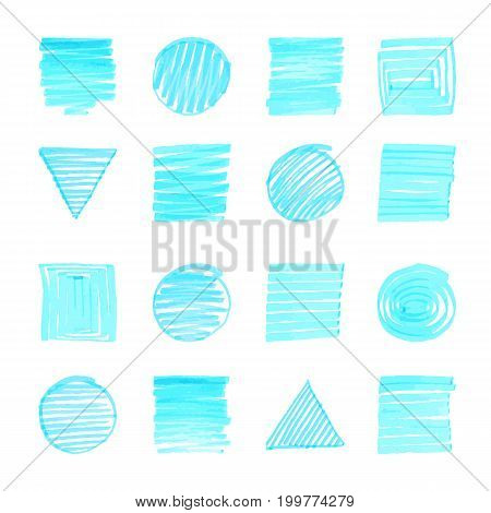 Uniqiue Handdrawn Color Highlight Shapes Of Squares, Triangles, Circles For Logo Design. Isolated Ve