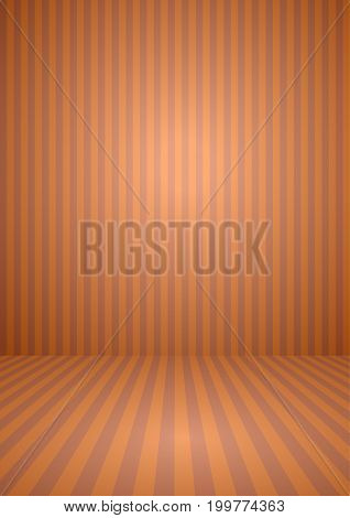Abstract orange color vintage striped room background for halloween theme concept. Vector illustration