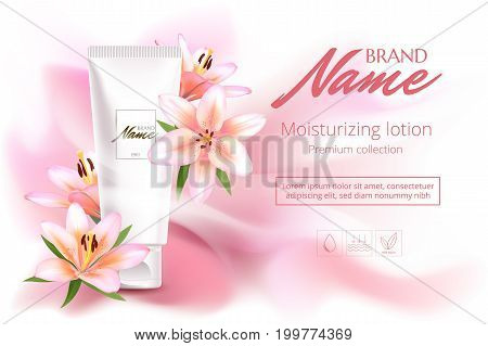 Advertising Poster For Cosmetic Product With Flowers For Catalog, Magazine. Vector Design Of Cosmeti